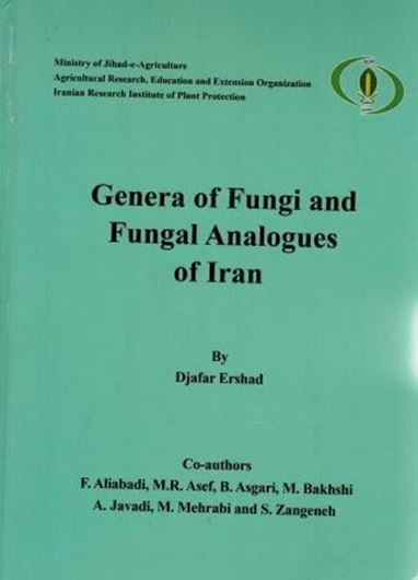 Genera of Fungi and Fungal Analogues of Iran. With contributions by F. Aliabadi, M. R. Asef, B. Asgari, M. Bakhshi, A. Javadi, M. Mehrabi and S. Zangeneh. 2018. illus. (col. & line figs.). ca 950 p. 4to. Hardcover. - Farsi, with Latin nomenclature and Latin species index.